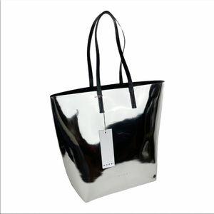 Marni Metallic Silver Shopping Tote Bag.